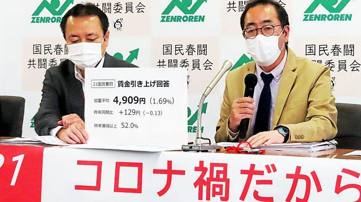 春闘共闘 昨年同時期の回答を上回る 加重平均で129円プラス